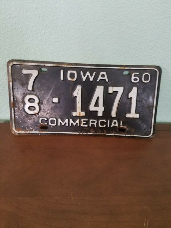 Vintage iowa license plate Commercial 1960
