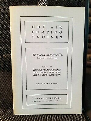 American Machine Hot Air Pumping Engines Catalog 1908 Hit Miss Illustrated