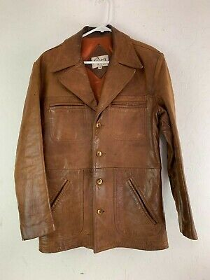Remy Fashions Mens 70s Distressed Button Up Vintage Leather Jacket 38 Large - 70s Mens Fashion