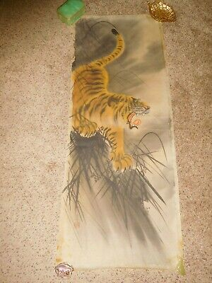 """WWII Era Vintage Japanese Tiger Hand Painted Silk Wall Hanging Scroll 18""""x47"""""""