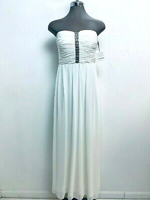 Calvin Klein NWT Ivory White Timeless Elegant Dress Embellished Crystals size 6