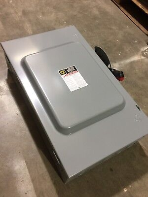 New Nib Square D 3 Pole 200 Amp 600v Non Fusible Disconnect Switch Hu364