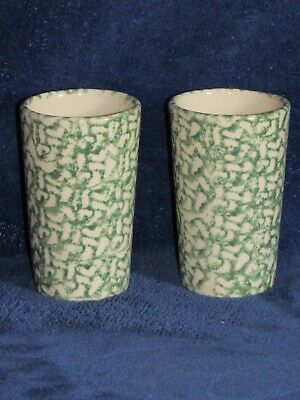 Set of (2) Green Spongeware 16 Oz Tumblers Workshop of Gerald Henn Roseville OH