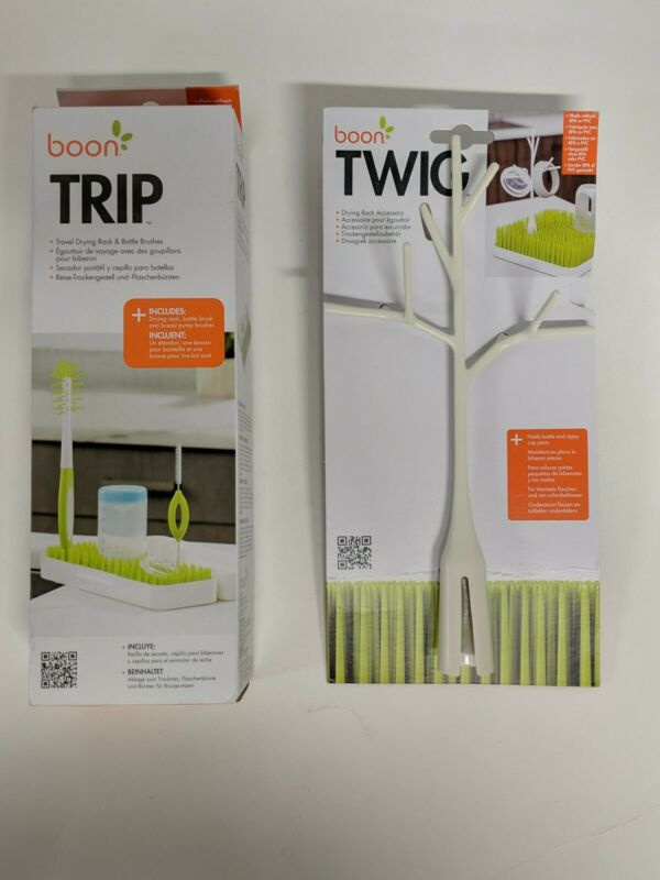Boon Trip Travel Drying Rack, Green, White + Boon Twig
