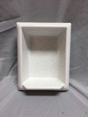 Vtg Porcelain Soap Dish Pocket Recessed Tile White With Grey Speckles 449-18C
