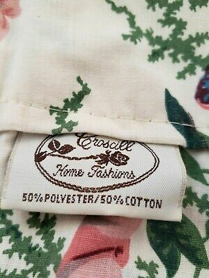 Green Tailored Valance - CROSCILL ENGLISH GARDEN BLOUSON TAILORED VALANCE FLORAL GREEN PINK RIBBONS 17X78