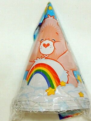 Care Bear Party Supplies (NEW CARE BEARS  8-  RAINBOW PAPER PARTY HATS -  PARTY SUPPLIES)