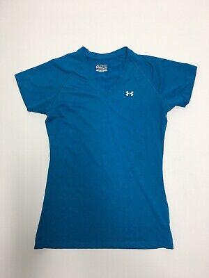 Women's Blue Under Armour Tech Heatgear Loose Small V-Neck T-Shirt Heatgear V-neck T-shirt