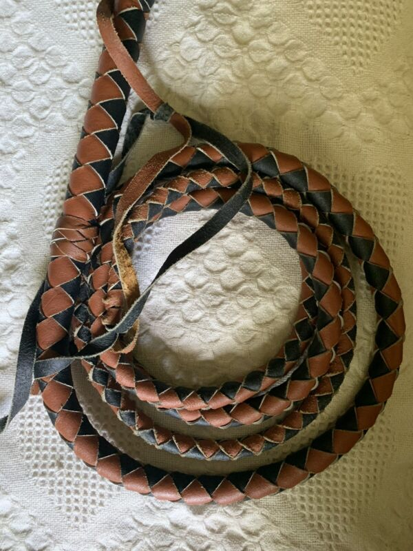12 Foot BLACK AND TAN Genuine Leather Handcrafted Tan Cowboy Bullwhip