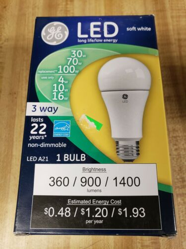 GE 92117 3 WAY LED LIGHT BULB, 16 WATTS, 120 VOLT, SOFT WHIT