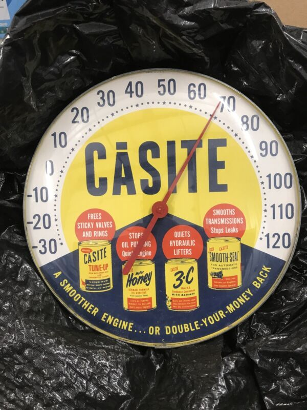 VINTAGE CASITE THERMOMETER SIGN GAS OIL STATION ADVERTISING GARAGE DISPLAY