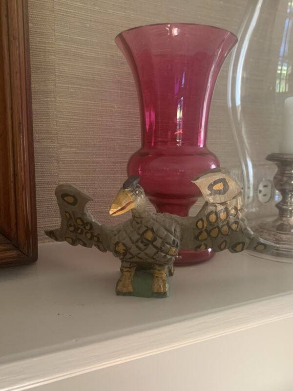 1994 Dan & Donna Strawser Carved Wood Painted Colored Bird In Great Condition