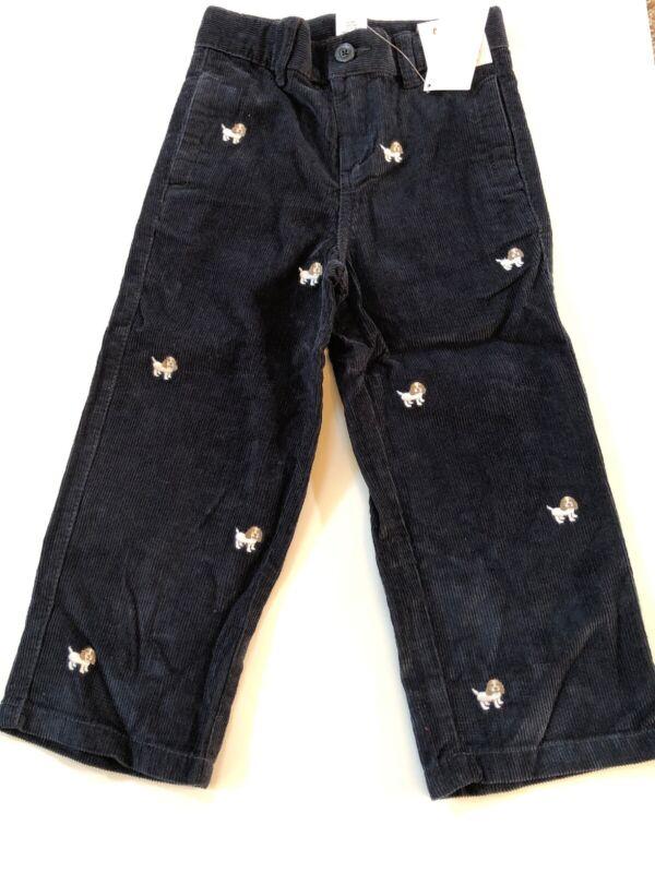 NWT GYMBOREE Boy BARKSIDE ACADEMY Navy Blue Corduroy Pants PUPPY ADJ 4T *34