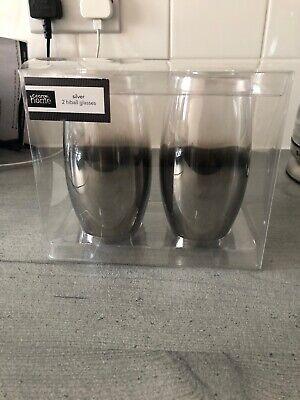 George Home (Asda) Set Of 2 Shiny Silver Hi Ball Glasses - Brand (Glasses Asda)