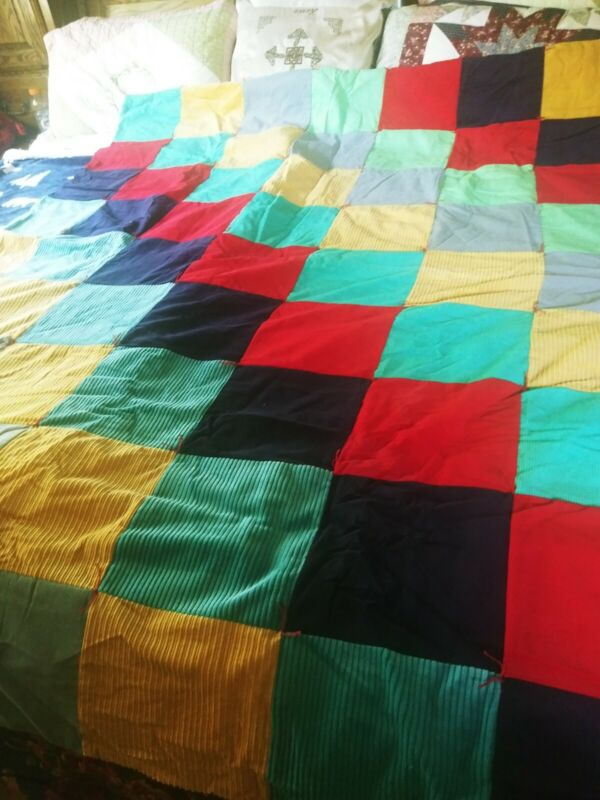 Handmade Soft Bright  Lap/Bed Quilt Made From Recycled Corduroy  61 x 78