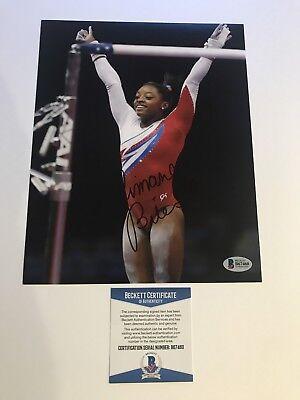 Simone Biles Rare Signed Us Olympic 8X10 Photo Beckett Bas Cert