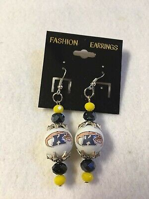 KENT STATE UNIVERSITY EARRINGS GLASS BEAD COLLEGE  FOOTBALL LOGO GOLDEN FLASHES  Kent State Football