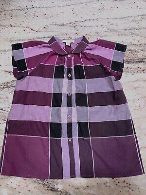 Burberry Children Purple Plaid Button Down Short Sleeve Shirt 7