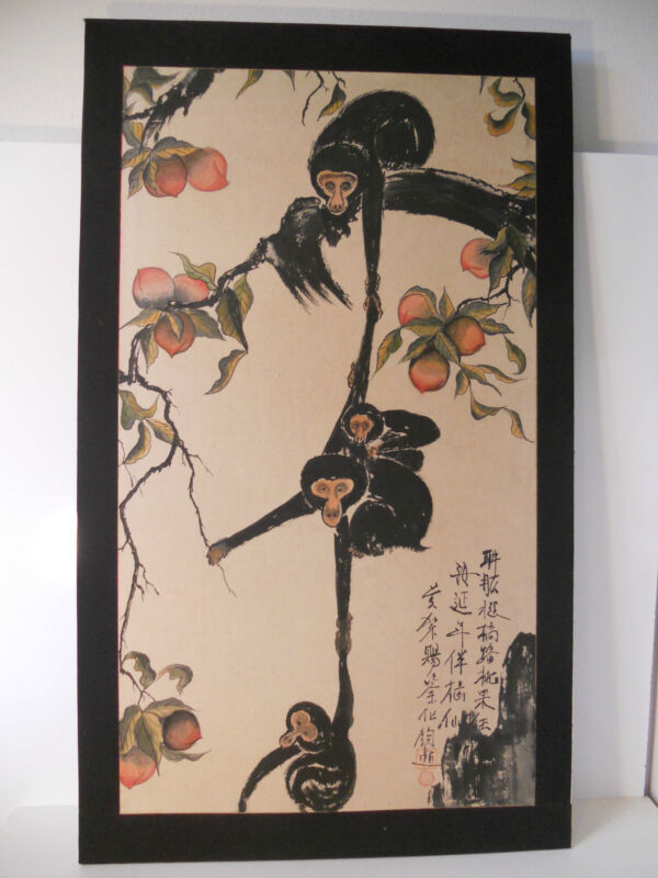 Beautiful Old Japanese 4 Monkey Hand Painting
