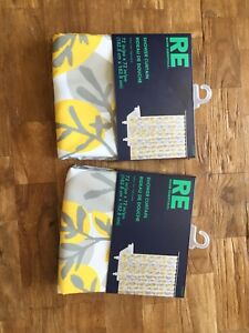New (in package) Yellow & Grey Target Shower Curtain
