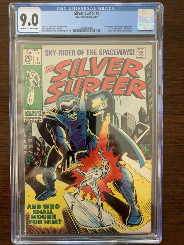 Silver Surfer #5 CGC 9.0 (Marvel 1969)  Fantastic Four & Stranger appearance.