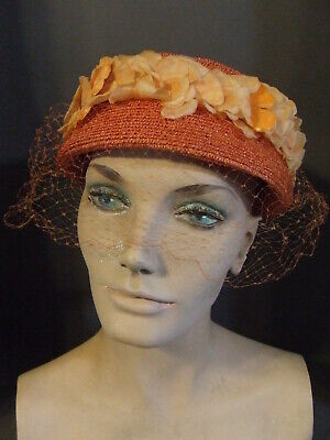 Flowers And Veil (VINTAGE MID CENTURY MSC ORANGE PILLBOX HAT WITH FLOWERS AND VEIL SIZE)