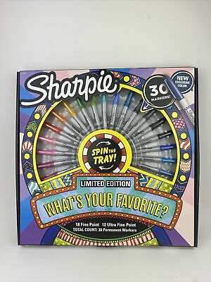 Sharpie Permanent Markers With Spinning Tray Fine Ultra-fine Tip 30 Markers
