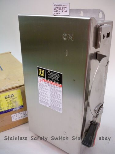 Square D 316 Stainless HU362SS 60a 600v Non-Fused Safety Switch 32 Available NEW