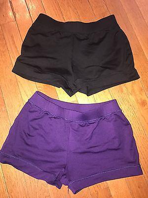 Lot MOTIONWEAR Gymnastics Cheer Dance Shorts Purple AND BLACK Adult Large