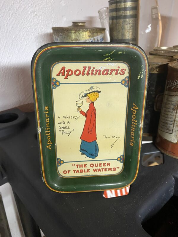 ANTIQUE ORIGINAL APOLLINARIS QUEEN OF TABLE WATERS LITHOGRAPHED TIP TRAY SIGN