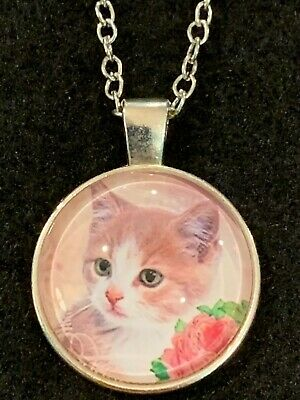 CAT Necklace NEW Domed Cabochon w/ chain (A) Silver tone Kitty Feline Purr Meow