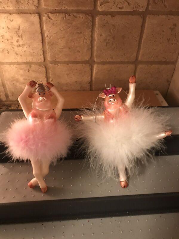 Set of 2 Pig Ballerina Ornaments