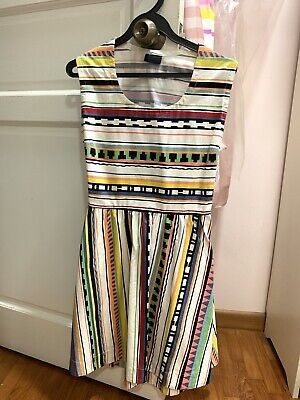 Kate Spade Saturday Striped Black White Red Blue Yellow Open Back Dress Neww