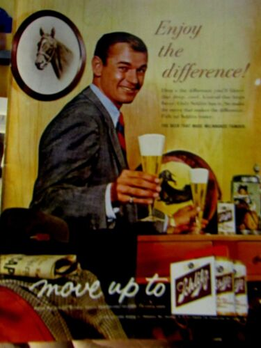"1961 Schlitz Beer Enjoy The Difference Original Print Ad 8.5 x 11"""