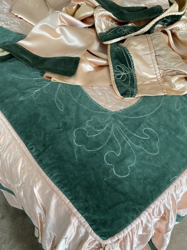 Antique Art Deco Sateen Velvet Boudoir Bedspread Drape Valance Set Peach Green