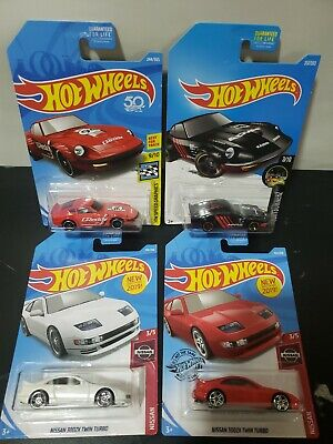 Lot 4 Hot Wheels NISSAN 300ZX TWIN TURBO white and red Fairlady z