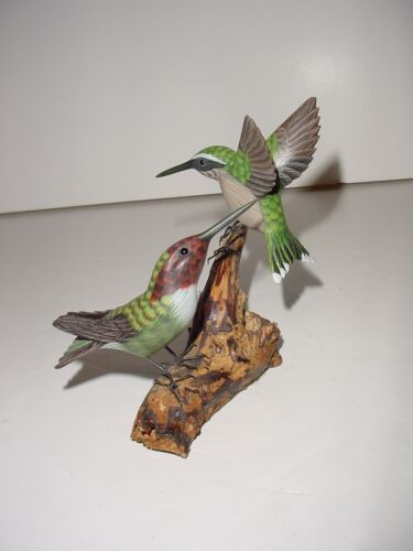 Beautiful Hand Carved Wooden Hummingbirds on Branch - Anna