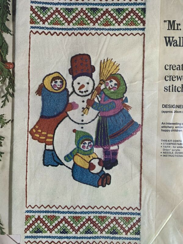 Mr. Snowman with Children Vintage Crewel Embroidery Kit Paragon NIP 8x18