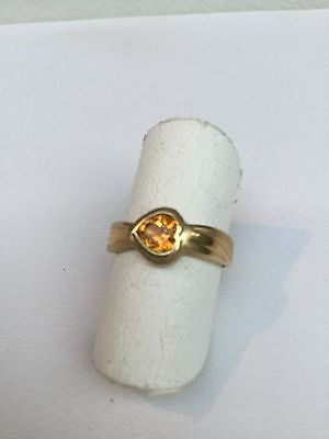 14 kt Yellow Gold Ring with Heart Shape Citrine