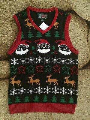 Ugly Sweater Vest (Ugly Christmas Sweater Vest Santa Reindeer Trees Mens Size Small Multicolor)