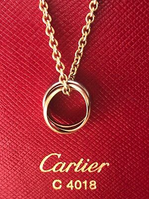 CARTIER TRINITY PENDANT NECKLACE CHAIN 18K YELLOW WHITE ROSE GOLD - AUTHENTIC