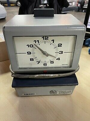 Vintage Amano Model 3507 Wall Mount Punch Card Time Clock Without Key