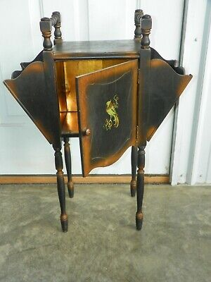 Vintage Wood Tobacco Pipe Cigar Smoking Magazine Stand Humidor Cabinet Table