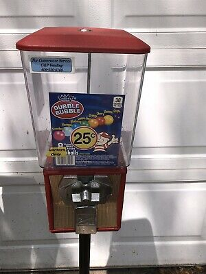 Gumball Machine Northwestern With Stand 25 Cent With Key