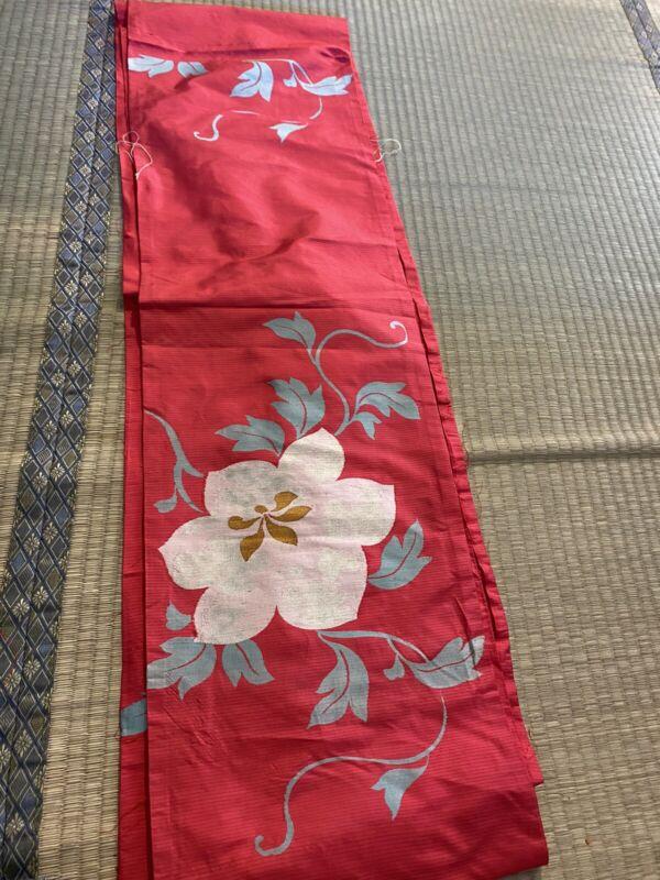 Japanese Vintage Kimono FABRIC / Silk / Red / Flower # 678