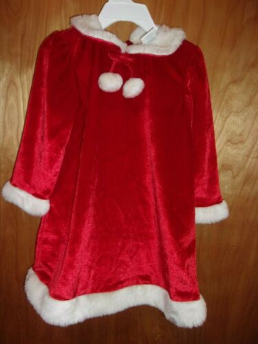 GIRLS 3T RED WHITE  CHRISTMAS  DRESS HOLIDAY LONG SLEEVE
