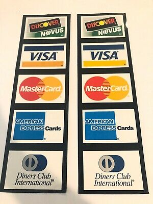 Two Vintage 1995 Credit Card Store Display Stickers Discover Visa Mc Amex Diners