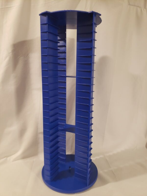 Vintage Fellowes 100 Cassette Tape Carousel Storage Spinning Tower, Blue