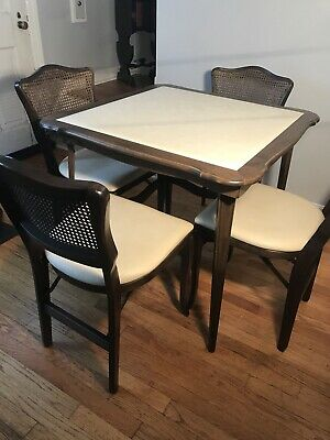 Vintage STAKMORE Wood Vinyl Folding Card Table w/ 4 Caned Rattan Back Chairs MCM Cane Back Folding Chairs