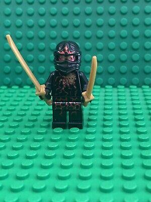 Ninjago NRG Cole Black Ninja W/ Gold Armor & Sword Lego Minifigure 9572